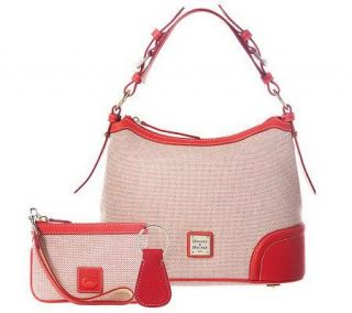 Dooney & Bourke Woven Hobo Bag with Leather Trim and Accessories