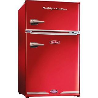 & Freezer ~ Retro Red Refrigerator Compact Small Office Dorm Bedroom