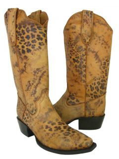 Brown Leather Leopard Spots Western Cowboy Boots Snip Toe
