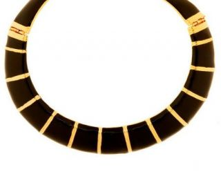 Kenneth Jay Lanes Goldtone and Enamel Collar Necklace —