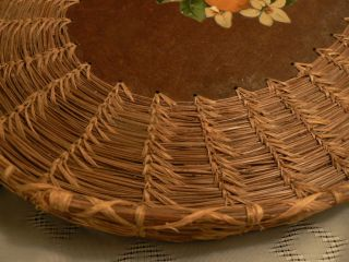 Old 1960s Coiled Pine Needle COUSHATTA BASKET TRAY Fine Floral Orange