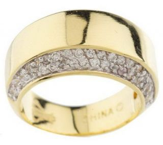 Priscilla Presley High Polished Band Ring with Pave Accents