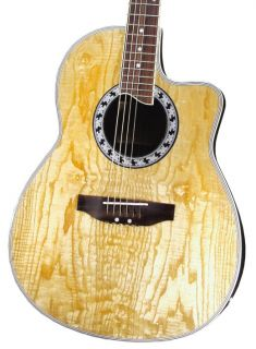 QUALITY SHALLOW BODY ASH TOP NATURAL FINISH ACOUSTIC ELECTRIC GUITAR