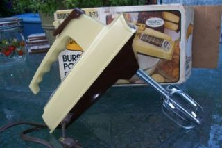 Vintage Sunbeam Hand Mixer w Power Burst Button Harvest Gold 3 73