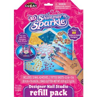 Cra Z Art 3D Shimmer n Sparkle Designer Nail Studio Refill Pack