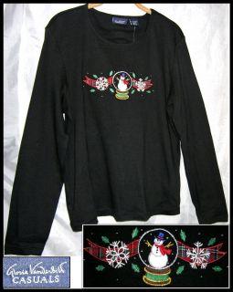 GLORIA VANDERBILT Snowman Globe CHRISTMAS TOP L Holiday Black Knit Tee
