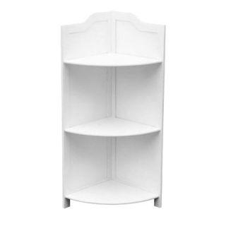 Quality Floor Stand 3 Tier White Wood Corner Shelf Unit