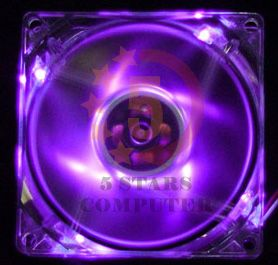 80mm Purple LED Case Computer Cooling Fan PC 9 LED Mod