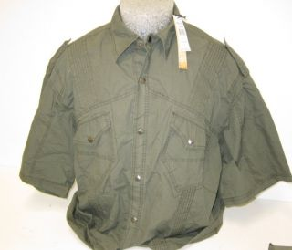 Mens Jordan Craig Button Shirt Size XXXL 3XL Large Army Grey Green