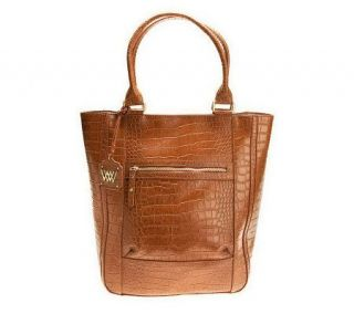 As Is Wendy Williams Croco Embossed Leather Tote —