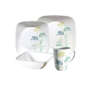 16 pc CORELLE SQUARE PAPER SHADOWS DINNERWARE SET