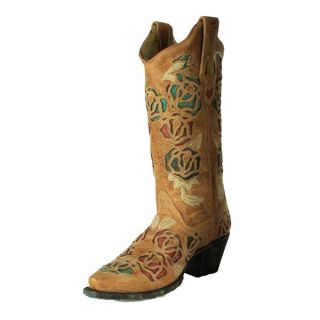 Corral Ladies Antique Saddle Multi Color Roses Cowgirl Boots R2491