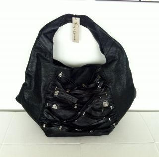 FOLEY CORINNA Grand Street Leather Hobo Bag Black Silver NEW 495