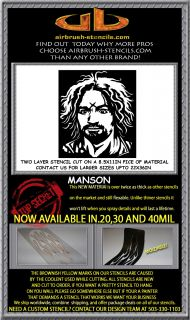 CHARLES MANSON airbrush stencil template motorcycle chopper paint