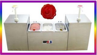 New 2 Pump 3 Pan Tabletop Hotdog Condiment Station Dispenser BENCHMARK