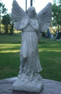 GUARDIAN ANGEL GARDEN STATUE CEMENT CONCRETE ANTIQUED WHITE GREAT GIFT