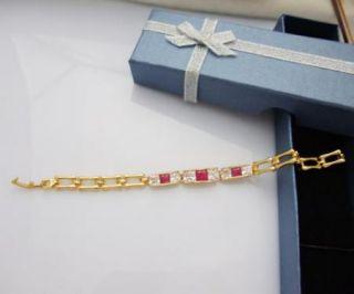 24K Gold Plated Red Ruby CZ Tennis Bracelet Jewelry 7