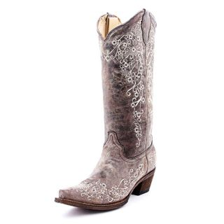 Corral Ladies Embroidery Floral Lace Cowgirl Boots Bone A1094
