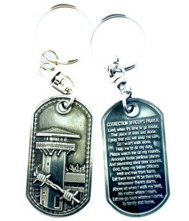 CORRECTION OFFICERS PRAYER BRUSHED STEEL KEYCHAIN