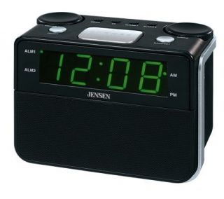 Jensen JCR 255 AM/FM Dual Alarm Auto Time Set Clock Radio —