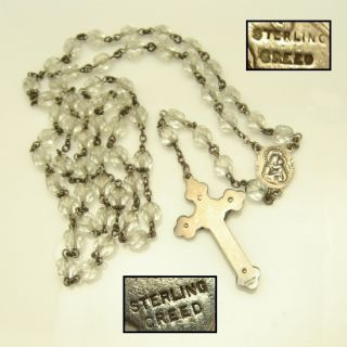 Creed Sterling Vintage Rosary Crystal Beads Large Crucifix Sacred