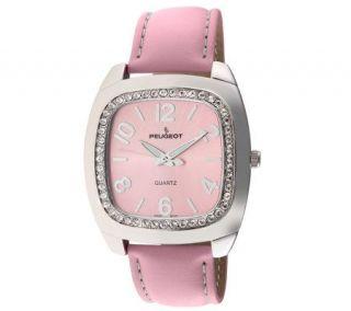 Peugeot Ladies Silvertone Swarovski Crystal Pink Strap Watch
