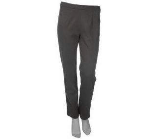 Bob Mackies Ponte Knit Hollywood Waist Pants with Side Zip —
