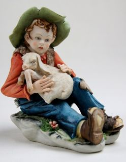 Boy with Lamb Bisque Porcelain Figurine Signed Cortese
