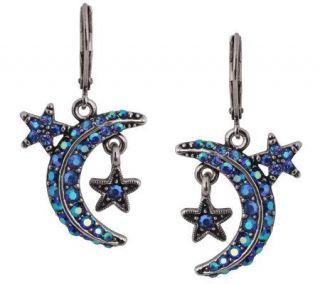 Kirks Folly Eclipse Star & Moon Leverback Earrings Blue Heaven