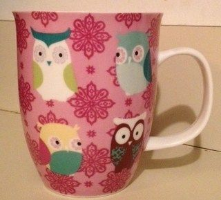 New Ceramic Owl Mug Coffee Cup Pink by Creative Tops Ltd