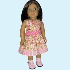 Doll Clothes Fit 18 American Girl Cotton Pink Floral Dress New