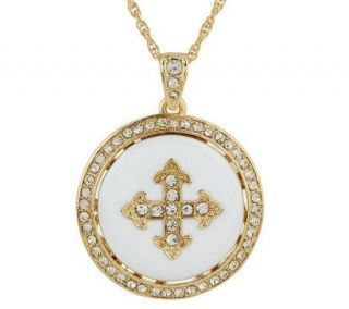 Priscilla Presley Maltese Cross Disc Pendant —