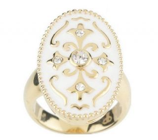 Priscilla Presley Elongated Oval Enamel & Crystal Ring —