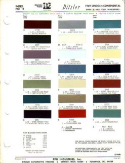 1969 Lincoln Continental Thunderbird Mark Paint Chips
