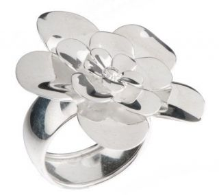 Paola Valentini Sterling Bold Polished Flower Ring —