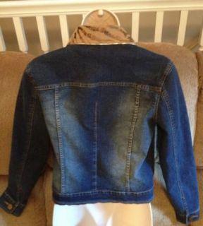 Cristina Womens Blue Jean Jacket Sz s Gold Studded Animal Print