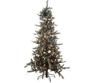 Flock  Frosted Fir Christmas Tree with Icicles & 5 Year LMW