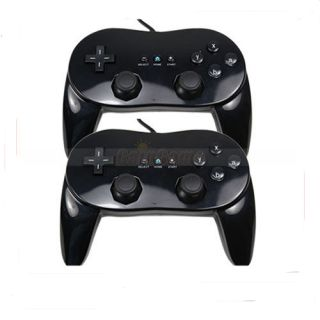 2pcs New Black Classic Pro Controllers for Nintendo Wii Remote US