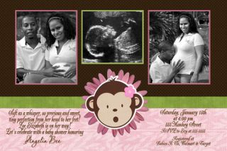 Brown Sonogram Baby Shower Invitation Ultrasound Couples Photos