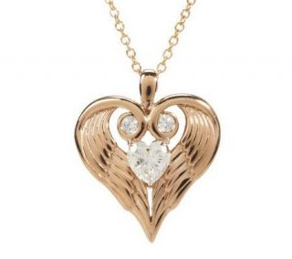 Diamonique Sterling orClad Angel Wing Heart Pendant w/Chain —