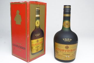 1960s Courvoisier V.S.O.P. Cognac bottle in box, vintage Late King