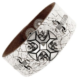 Power White Leather Bracelet Iron Chopper Cross Dagger 8 5 9