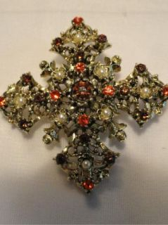 Vtg Jeweled Lisner Maltese Cross Brooch Gold Orange Amber Stones Pearl