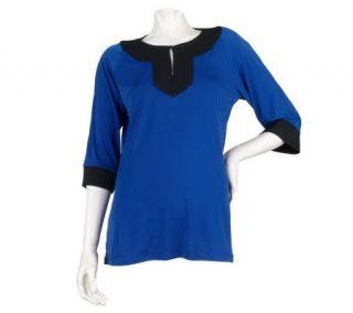 Dennis Basso Matte Jersey Color Block 3/4 Sleeve Shirt —