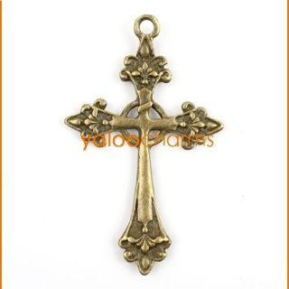 10x antiqued bronze steampunk religious cross necklace pendant 140937