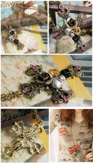 Bronze Rose Flowers Skull Cross Rhinestone Pendant Long Necklace