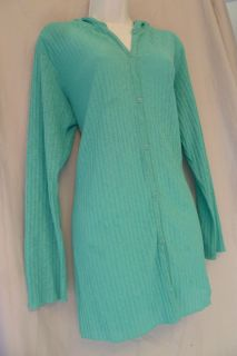 Tropical Escape Beach Cover Up Womens Size M Semi Sheer Blue Like New