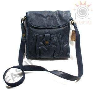 Mini Abbey Road Foldover Crossbody Bag Navy Blue Leather NWT 139 00