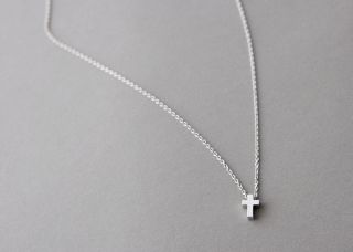 White Gold Small Cross Necklace Sterling Silver Cross Jewelry Necklace