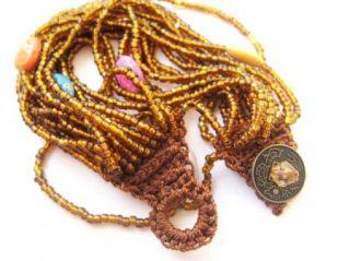 Beaded Handmade Crochet Bracelet Colorful Stone Bronze Beads SA625Y